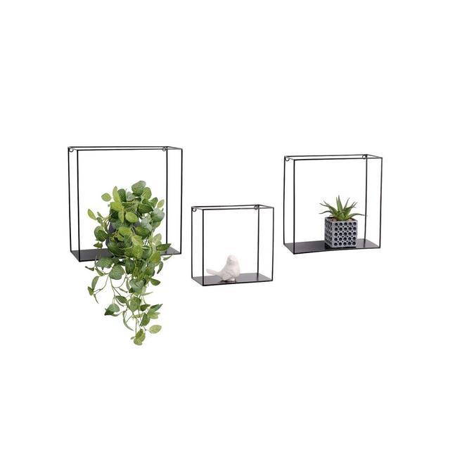 Mensole da Muro Design in Set da 3 mensole da Parete sospese Stile Industriale mensole componibili in Metallo Nero per Salotto cucina Ingresso