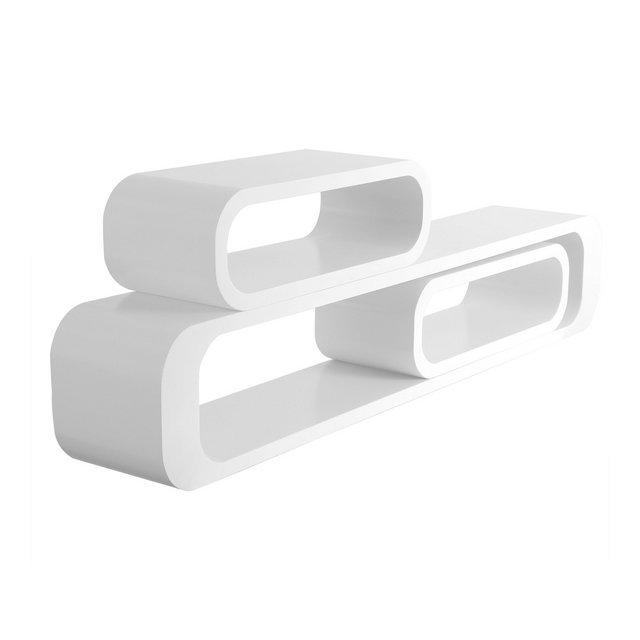 Mensole da Muro per Cameretta Mensola a Cubo Scaffale Parete Legno MDF Moderno 3 Pezzi Diametro Diverso Bianco