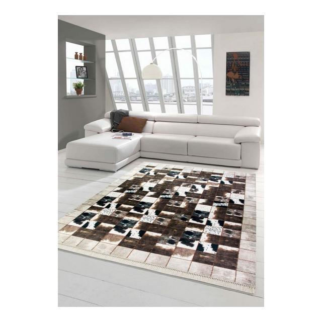 Merinos Patchwork di tappeti in Pelle di Vitello Marrone Crema Nera Größe 120×160 cm