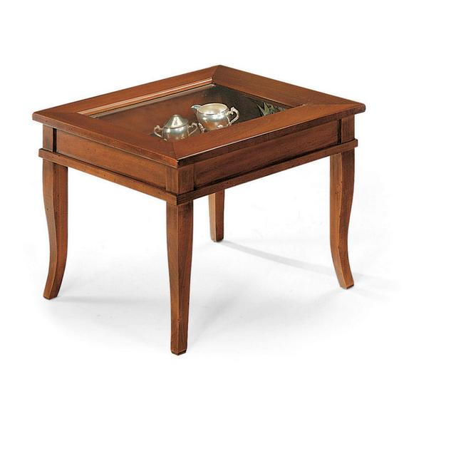 MilaniHome Tavolino Salotto Quadrato Bacheca Tinta Noce Piano Vetro 60 X 60 per Interno Ufficio Massello Arte Povera