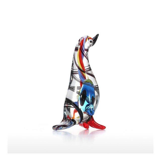 Mini Scultura in Vetro soffiato a Mano a Forma di Pinguino Idea Regalo per la casa