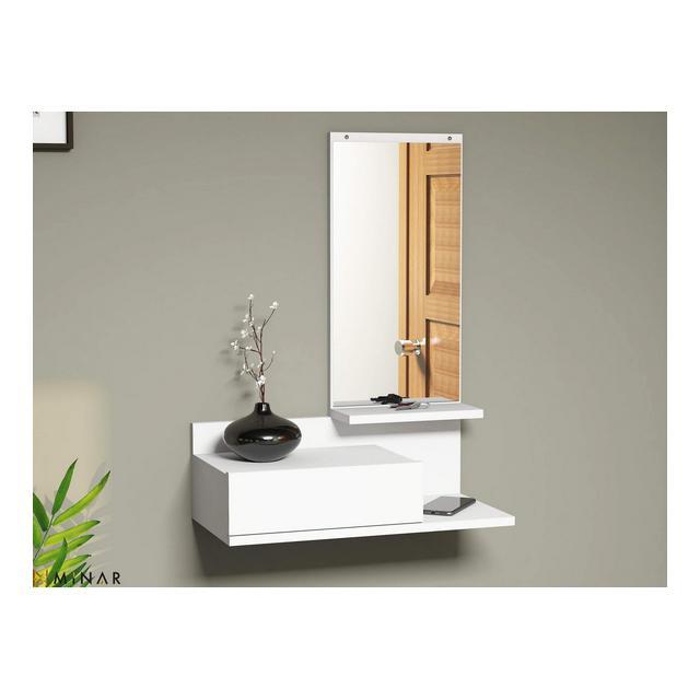 Mobile Ingresso Mode con Specchio Cassetto Ripiani Bianco in Legno 60 x 298 x 80 cm