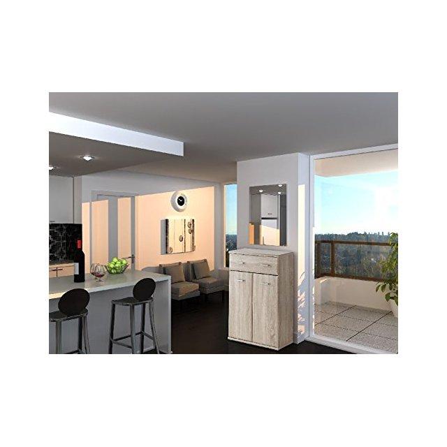 Mobile Ingresso Oxford Color Rovere e Sonoma 80% Truciolare e 20% MDF Casa Arredo Designper Entrata Abiti Appendiabiti Salvaspazio Taglia Unica