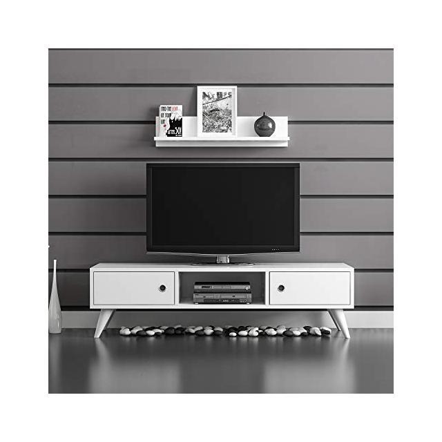 Mobile Porta TV Aspen Moderno con Ante Mensola Ripiani da Salotto Bianco in Legno 130 x 40 x 35 cm