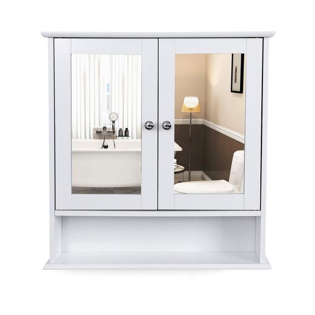 Mobiletto Pensile da Bagno con 2 Ante a Specchio Armadietto da Parete Specchio Contenitore con Ripiani Regolabili