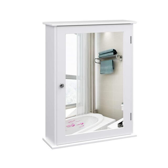 Mobiletto Pensile da Bagno con Specchio Armadietto da Parete Specchio Contenitore con Ripiani Regolabili 41 x 14 x 60 cm Bianco LHC001