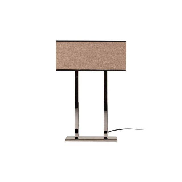 Modern Table Lampada da Tavolo Metallo CromoBeige Scuro 52 cm Paralume 35 x 15 x 15 cm
