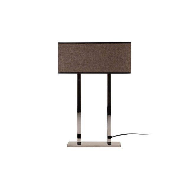 Modern Table Lampada da Tavolo Metallo CromoMarrone Scuro 52 cm Paralume 35 x 15 x 15 cm