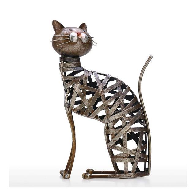 Moobeasch Intrecciato Gatto Scultura Ormento di ferro moderno Statuetta intrecciata creativa Artigiato fatto a mano Stile animale speciale Ripiano e scrivania Decorazione per la casa