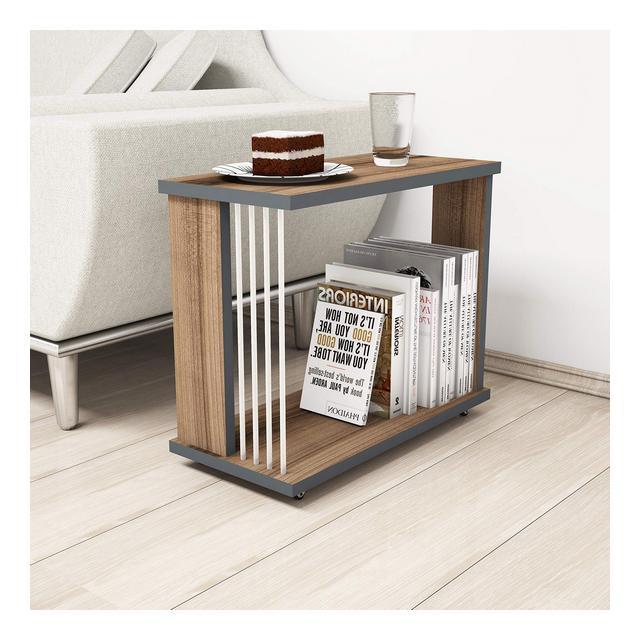 Negro Tavolino Basso da caffè Lamito Melaminico PVC Noce 24 x 42 x 50 cm