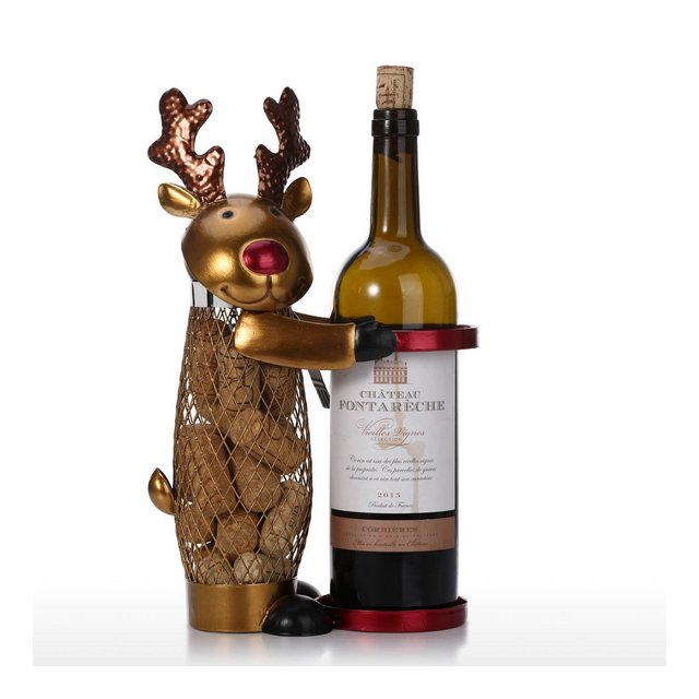 Netted Christmas Elk Wine Rack Supporto di vino animale Tappo di sughero Metal Craft pratico