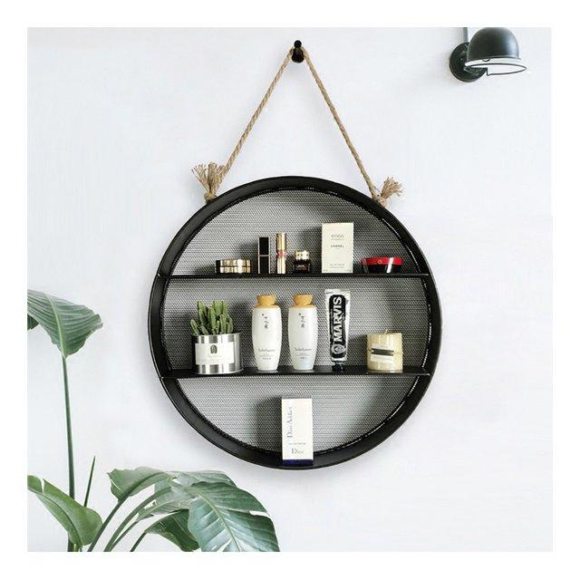 Nordic Living Room Creativo circolare in ferro decorativo da parete Hanging Rack multilivello Cesto di stoccaggio Partizione semplice LOFT ciondolo decorativo