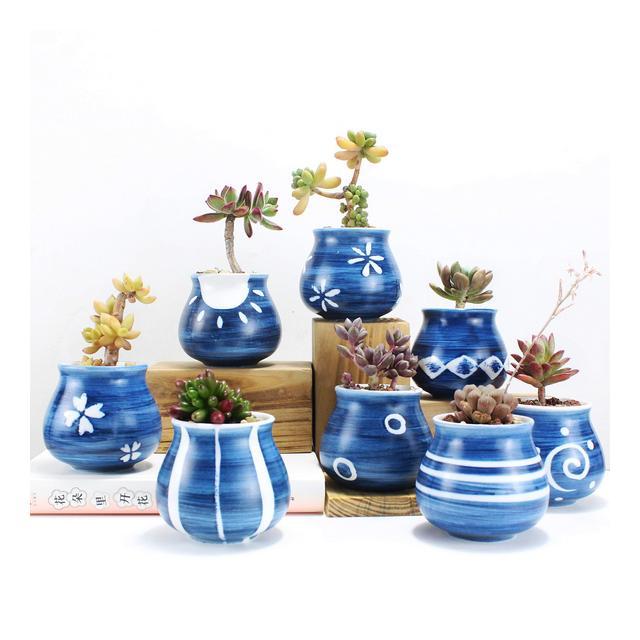 Ordino Piccolo Vaso in Ceramica per Piante grasse 8 x 6 cm Vaso per Cactus Vaso per Fiori smaltato 6 Colori Confezione da 8