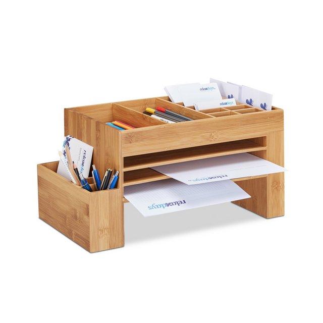 Organizer da Scrivania in Bambù Ufficio Portaoggetti e Portalettere HxLxP 20x40x215 cm Marrone Chiaro