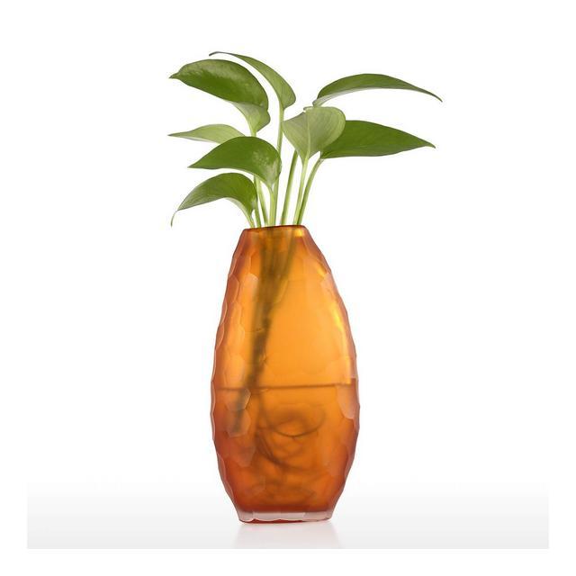 Ormento di Vetro Soprammobili Vaso Alto in Vetro Arancio Ideale per Matrimoni e Occasioni Speciali Uso per Rose Composizioni Floreali Vaso di Vetro