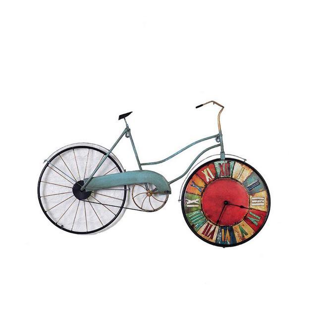 Orologio Decorazione Bicicletta Vintage in Ferro battuto Orologio Creativo da Parete Decorazione Bar Ciondolo Decorativo