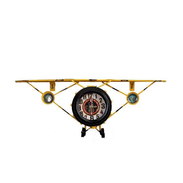 Orologio da Aeroplano Americano in Ferro battuto Vintage Scaffale Decorativo da Parete per Soggiorno Ciondolo Decorativo