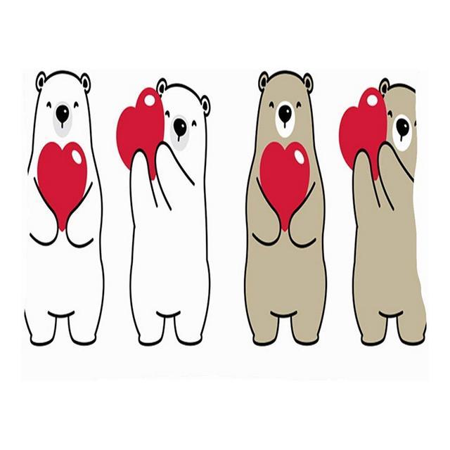 Orso Cuore Polare San Valentino Animali Segni Simboli Fodere per Cuscini Fodere per Cuscini in Lino di Cotone Federe per federe