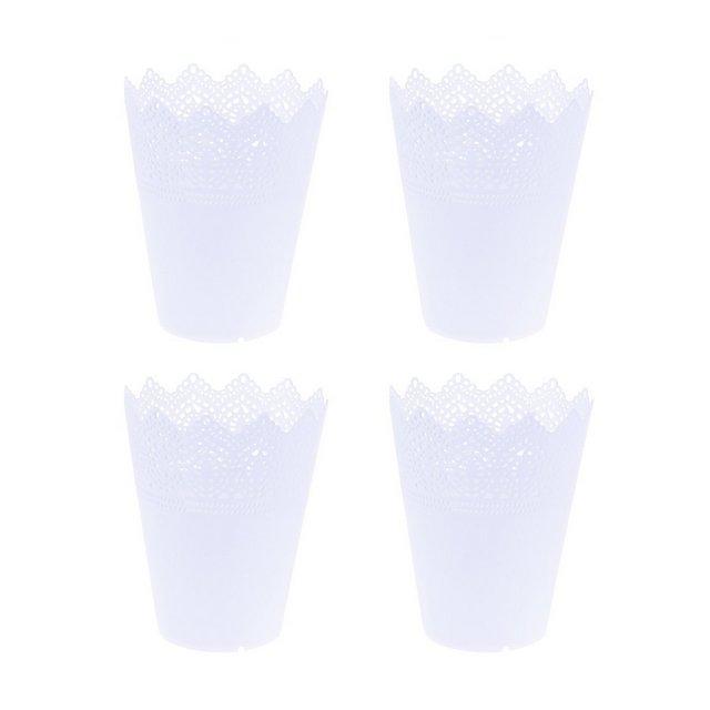 Ouno 4pcs plastica vasi da fiori coro pizzo nursery pots Seedling Planter Home Decoration–Taglia L bianco
