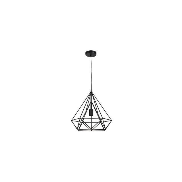 Paralume gabbia metallo Lampadario diamante pendente Portalampada a sospensione vintage con attacco E27 Altezza regolabile fino a 120 m Nero