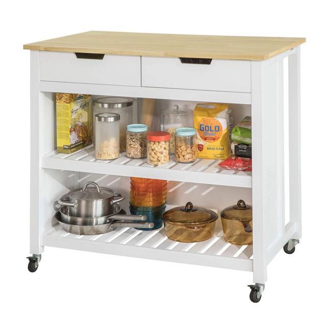 Penisola cucina Piano di Lavoro per cucina con 2 cassetti a 2 Ripiani L100*P60*A94CM FKW74WN