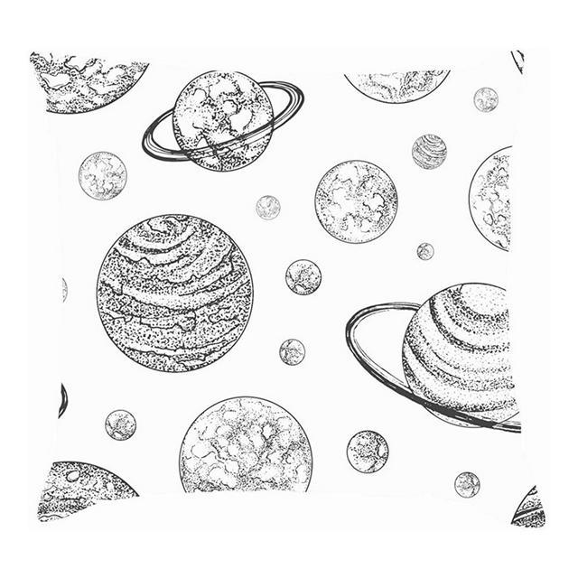 Pianeti Bianchi Neri Fodere per Cuscini di Design Vintage astronomiche per Cuscini Fodere per Cuscini in Lino di Cotone Federe