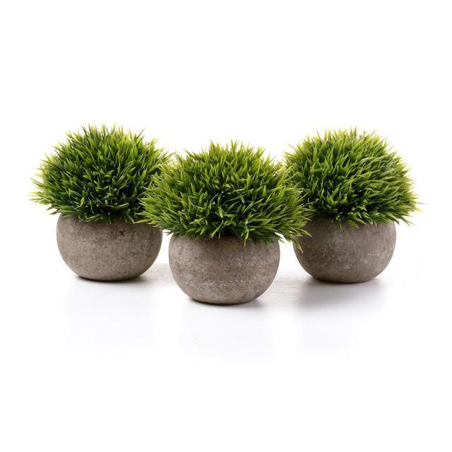Piante Artificiali di Plastica Piante in Vaso Fiore Decorativo di Casa e Ufficio Verde Confezione da 3