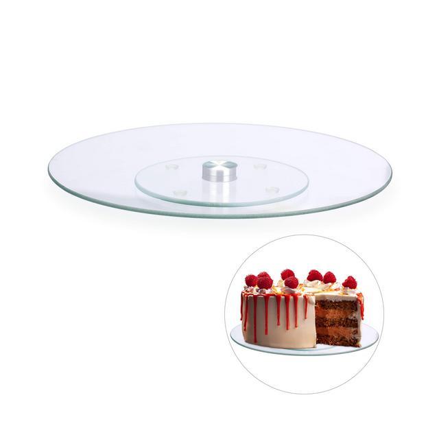 Piatto per Torte Girevole a 360º  30cm per Decorare e Servire Tortiera Rotonda Vetro Trasparente