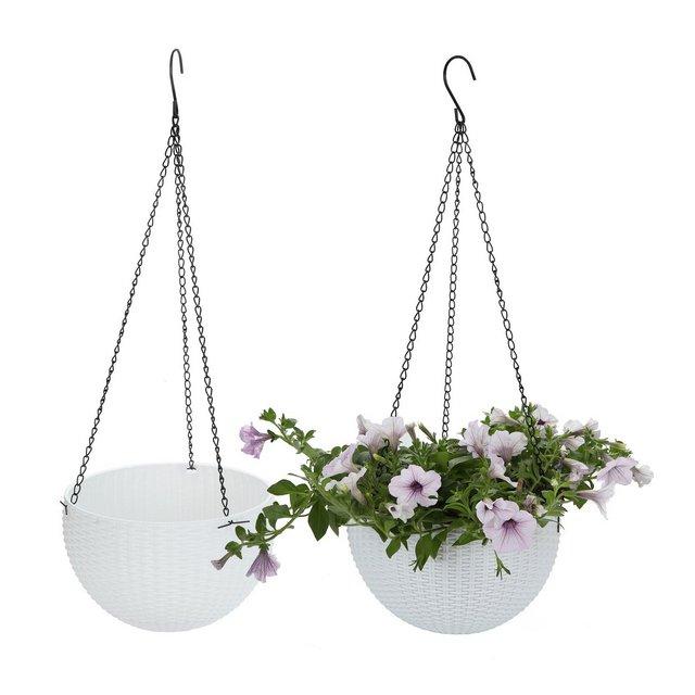 Plastica Tondo Fioriera Sospesa Cestino Giardino Fiore Planta Percha con Escurridor y Cade Bianca Confezione da 2