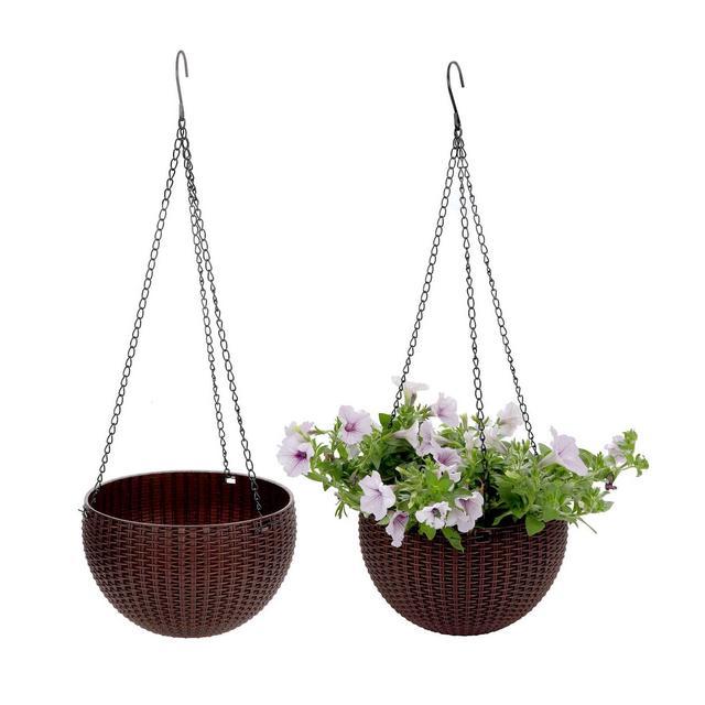 Plastica Tondo Fioriera Sospesa Cestino Giardino Fiore Planta Percha con Escurridor y Cade caffè Marrone Confezione da 2