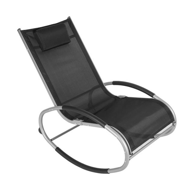 Poltro Swing Relax Sedia a Sdraio Lettino Traspirante da Balcone Campeggio Tubo in Alluminio con Poggiatesta e Braccioli Nero