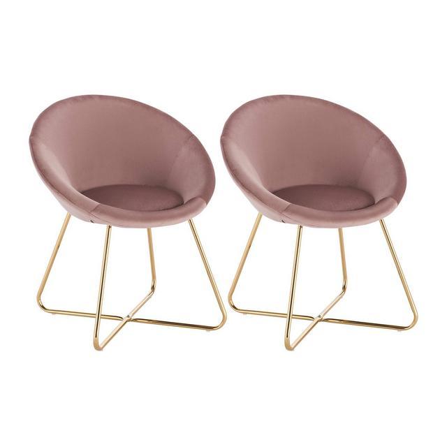 Poltrone in Velluto Rosa per Sala da Pranzo Soggiorno Moder Sedia con Schiele Braccioli