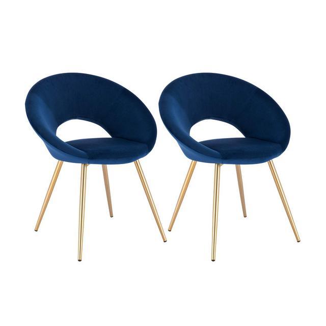 Poltrone in Velluto per Sala da Pranzo Soggiorno Moder Sedia con Schiele Braccioli Blu