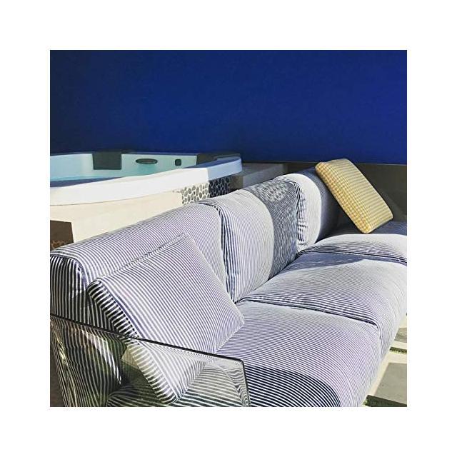 Pop Outdoor 704362 Divano 3 Posti da Giardino Esterno cm242x70 Cuscini a Righe Blu