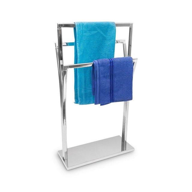 Porta Asciugamani con 3 Barre a Diverse Altezze 86 X 50 X 20 cm Metallo Argento