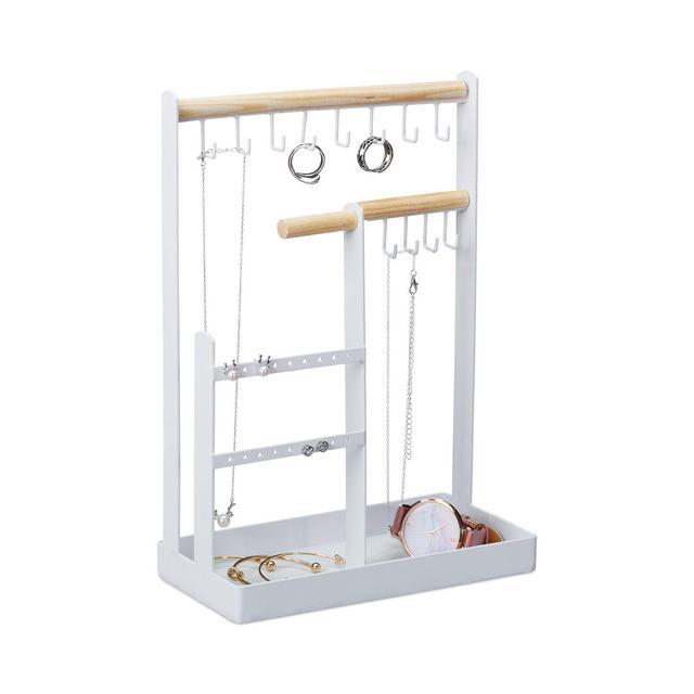 Porta Collane da Appendere Portagioie per Orecchini Anelli e Collane Metallo Don H 29 cm Bianco