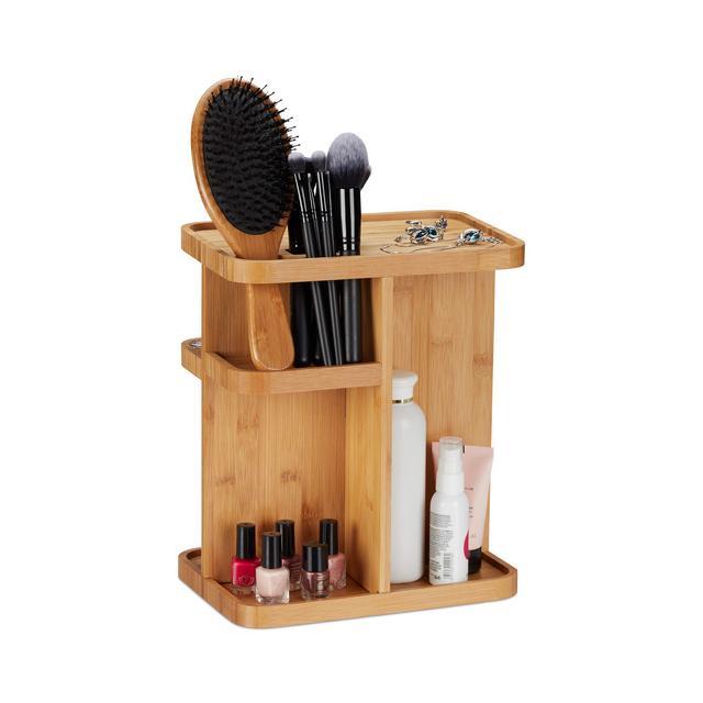 Porta bambù Organizer per Cosmetici Girevole da Bagno & Tavolo da Trucco HLP 31x255x18 cm Legno turale