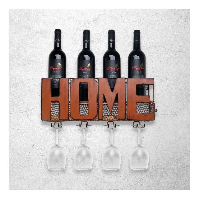 Portabottiglie da parete Supporto a parete in vetro con supporto per contenitore di stoccaggio in sughero con 5 zaini porta vino in vetro portaoggetti