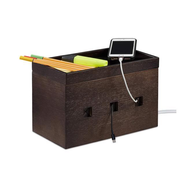 Portacavi in bambù sconde Ciabatte e Cavi Cable Magement Box da Scrivania HLP 165x255x14 cm Marrone 50 x 2550 x 1400 cm