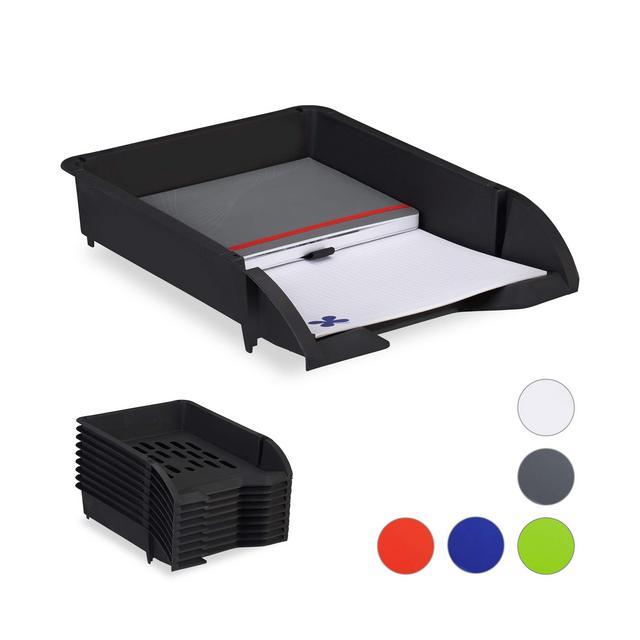 Portadocumenti a Incastro per Fogli in Formato A4 Ufficio Set 10 Contenitori di Plastica Nero HxLxP 7 x 25 x 34 cm