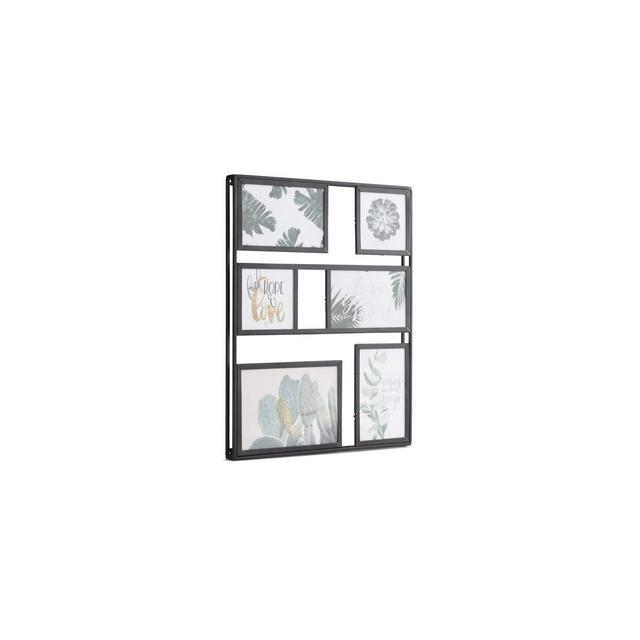 Portafoto da Parete Multiplo Fino a 6 fotografie Cornice da Muro Shabby per Foto da Appendere in Verticale o in Orizzontale Metallo Nero e Vetro