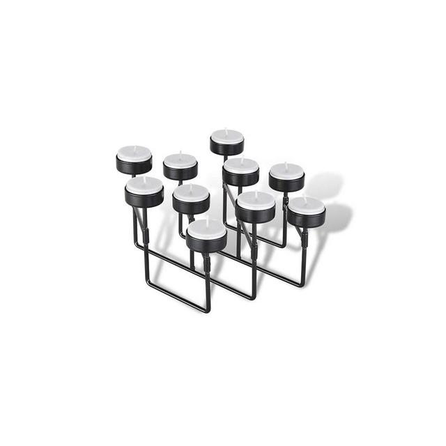 Portalumini Portacandele a Fisarmonica Portacandele Nero in Metallo per Soggiorno Camera da Letto Salotto Portalumini per 22 o 10 Candele 10 Candele