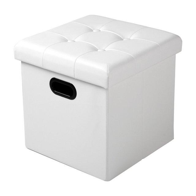 Pouf Contenitore Sgabello Sedia a Cubo Panche Pieghevole Poggiapiedi Cassapanca con Coperchio Rimovibile Ecopelle Bianco