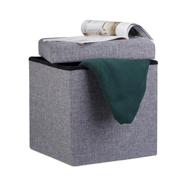 Pouf Pieghevole Con Contenitore Sgabello a Forma di Cubo Lino Coperchio Rimovibile 38x38x38 cm Grigio Scuro