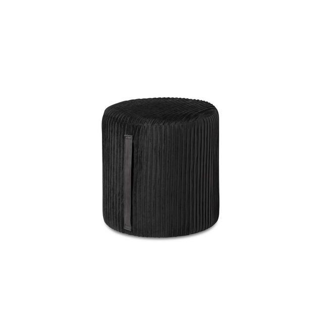 Pouf poggiapiedi in Velluto Nero Sgabello ottoma Puff cilindrico Decorativo con Stringa Laterale per Soggiorno Salotto e Camera da Letto