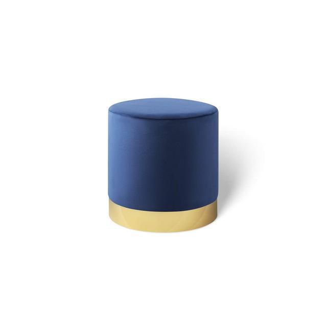 Pouf poggiapiedi in Velluto Sgabello ottoma Puff cilindrico con Base Oro in Metallo per Salotto e Camera da Letto Blu 38 x 38 cm