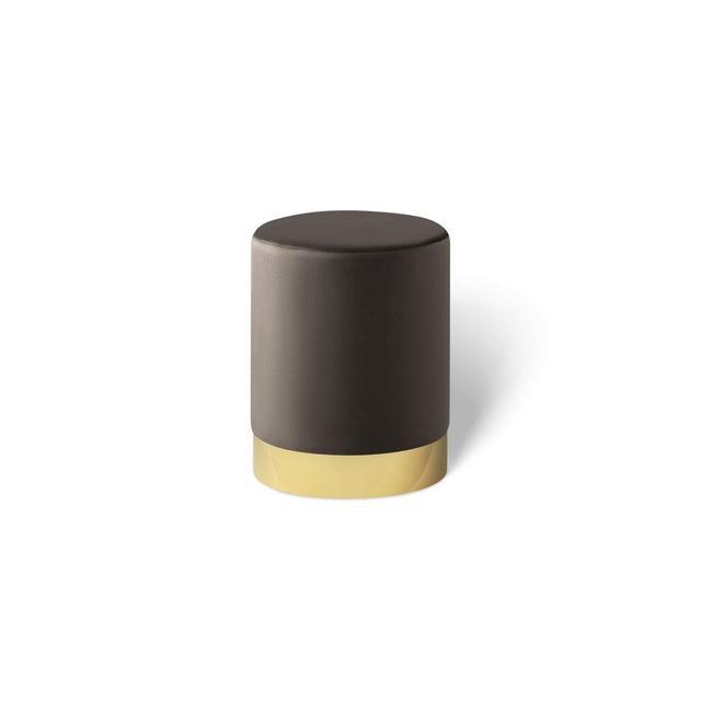 Pouf poggiapiedi in Velluto Sgabello ottoma Puff cilindrico con Base Oro in Metallo per Salotto e Camera da Letto Grigio Scuro 30 x 38 cm