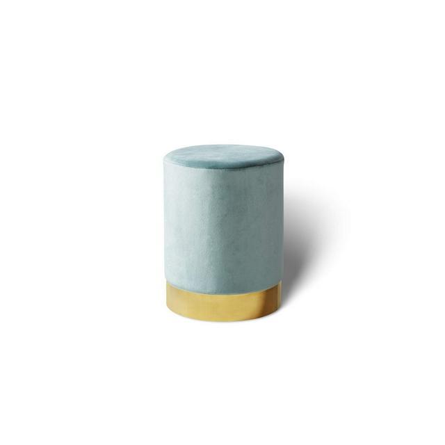Pouf poggiapiedi in Velluto Sgabello ottoma Puff cilindrico con Base Oro in Metallo per Salotto e Camera da Letto Verde Acqua 30 x 38 cm
