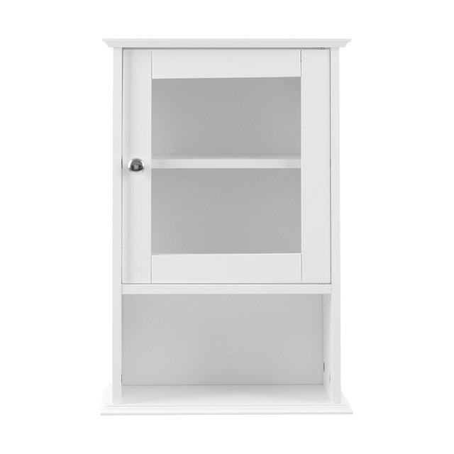 Premier Housewares Armadietto da parete con sportello in vetro e scaffale interno 51 x 35 x 18 cm colore Bianco
