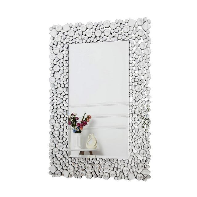 RICHTOP Specchio da Parete Specchio Rettangolare da Parete in Cristallo Gioiello Mosaico per Soggiorno Camera da Letto specchiera 60cm x 90cm